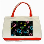 Peace & Love Pattern Classic Tote Bag (Red)