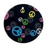 Peace & Love Pattern Round Ornament (Two Sides)