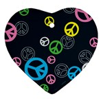 Peace & Love Pattern Heart Ornament (Two Sides)