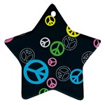 Peace & Love Pattern Star Ornament (Two Sides)