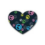 Peace & Love Pattern Heart Coaster (4 pack)
