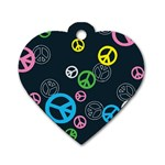 Peace & Love Pattern Dog Tag Heart (Two Sides)