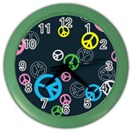 Peace & Love Pattern Color Wall Clocks