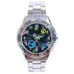 Peace & Love Pattern Stainless Steel Analogue Watch