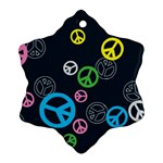 Peace & Love Pattern Snowflake Ornament (Two Sides)