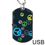 Peace & Love Pattern Dog Tag USB Flash (One Side)