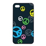 Peace & Love Pattern Apple iPhone 4/4s Seamless Case (Black)
