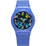 Peace & Love Pattern Round Plastic Sport Watch (S)