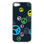 Peace & Love Pattern Apple iPhone 5 Case (Silver)