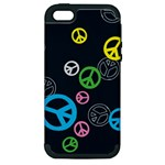 Peace & Love Pattern Apple iPhone 5 Hardshell Case (PC+Silicone)