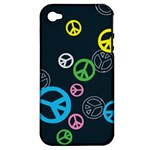 Peace & Love Pattern Apple iPhone 4/4S Hardshell Case (PC+Silicone)