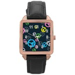 Peace & Love Pattern Rose Gold Leather Watch