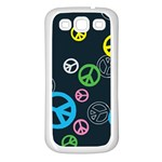 Peace & Love Pattern Samsung Galaxy S3 Back Case (White)