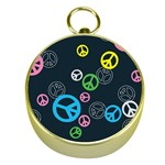 Peace & Love Pattern Gold Compasses