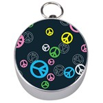 Peace & Love Pattern Silver Compasses