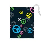 Peace & Love Pattern Drawstring Pouches (Large)