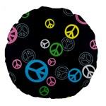 Peace & Love Pattern Large 18  Premium Flano Round Cushions