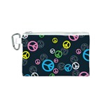 Peace & Love Pattern Canvas Cosmetic Bag (S)