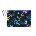 Peace & Love Pattern Canvas Cosmetic Bag (M)