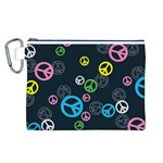 Peace & Love Pattern Canvas Cosmetic Bag (L)