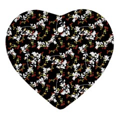 Dark Chinoiserie Floral Collage Pattern Heart Ornament (two Sides) by dflcprints