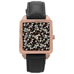 Dark Chinoiserie Floral Collage Pattern Rose Gold Leather Watch  by dflcprints
