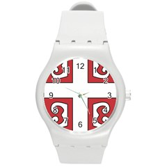 Serbian Cross Shield Round Plastic Sport Watch (m) by abbeyz71