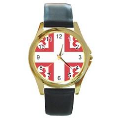 Serbian Cross  Round Gold Metal Watch by abbeyz71