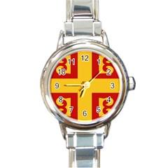 Byzantine Imperial Flag, 14th Century Round Italian Charm Watch by abbeyz71