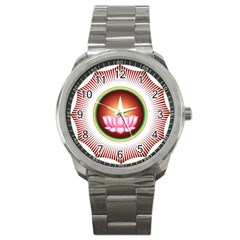 Ayyavazhi Symbol  Sport Metal Watch by abbeyz71