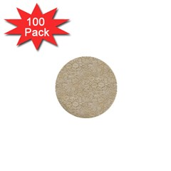 Old Floral Crochet Lace Pattern Beige Bleached 1  Mini Buttons (100 Pack)  by EDDArt