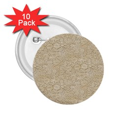 Old Floral Crochet Lace Pattern Beige Bleached 2 25  Buttons (10 Pack)  by EDDArt
