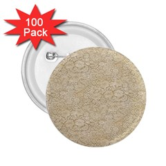 Old Floral Crochet Lace Pattern Beige Bleached 2 25  Buttons (100 Pack)  by EDDArt