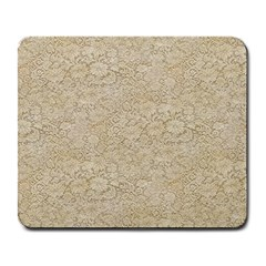 Old Floral Crochet Lace Pattern Beige Bleached Large Mousepads by EDDArt