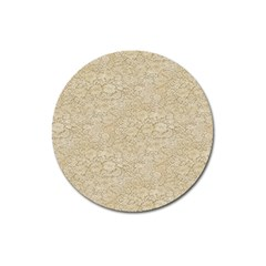 Old Floral Crochet Lace Pattern Beige Bleached Magnet 3  (round) by EDDArt