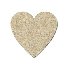 Old Floral Crochet Lace Pattern Beige Bleached Heart Magnet by EDDArt