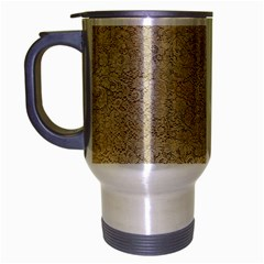 Old Floral Crochet Lace Pattern Beige Bleached Travel Mug (silver Gray) by EDDArt