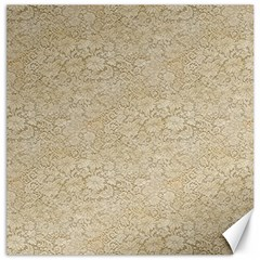 Old Floral Crochet Lace Pattern Beige Bleached Canvas 16  X 16   by EDDArt