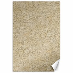Old Floral Crochet Lace Pattern Beige Bleached Canvas 24  X 36  by EDDArt