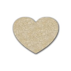 Old Floral Crochet Lace Pattern Beige Bleached Heart Coaster (4 Pack)  by EDDArt