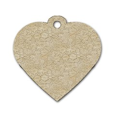 Old Floral Crochet Lace Pattern Beige Bleached Dog Tag Heart (one Side) by EDDArt