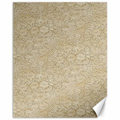 Old Floral Crochet Lace Pattern Beige Bleached Canvas 11  X 14   by EDDArt