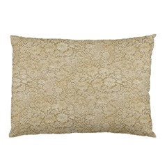 Old Floral Crochet Lace Pattern Beige Bleached Pillow Case by EDDArt