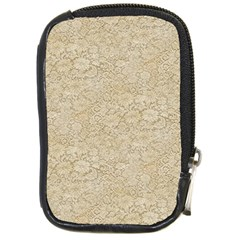 Old Floral Crochet Lace Pattern Beige Bleached Compact Camera Cases by EDDArt