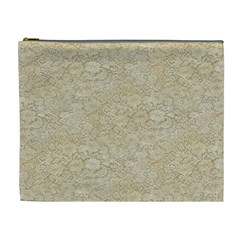 Old Floral Crochet Lace Pattern Beige Bleached Cosmetic Bag (xl) by EDDArt
