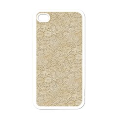 Old Floral Crochet Lace Pattern Beige Bleached Apple Iphone 4 Case (white) by EDDArt