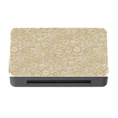 Old Floral Crochet Lace Pattern Beige Bleached Memory Card Reader With Cf by EDDArt