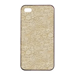 Old Floral Crochet Lace Pattern Beige Bleached Apple Iphone 4/4s Seamless Case (black) by EDDArt