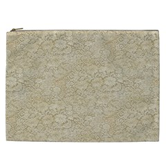 Old Floral Crochet Lace Pattern Beige Bleached Cosmetic Bag (xxl)  by EDDArt
