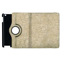 Old Floral Crochet Lace Pattern Beige Bleached Apple Ipad 3/4 Flip 360 Case by EDDArt